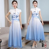2020夏季新款日常改良式旗袍奧黛假兩件套裝連身裙漸變中國風中長款