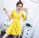 洋裝五折 2021夏季新款韓版女裝時尚夜店性感V領蕾絲修身連身裙小禮服裙潮 小禮服