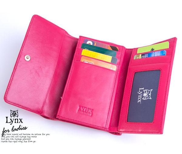 Lynx - 山貓仕女系列優雅款真皮三折式中皮夾 ─ 藍色