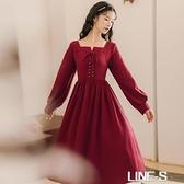 法式復古小清新流行赫本風系帶小紅小心機設計感小眾洋裝女秋裝雙十一特價