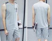 大碼青年夏季無袖潮流韓版中學生休閒夏裝男士衣服夏天運動套裝男