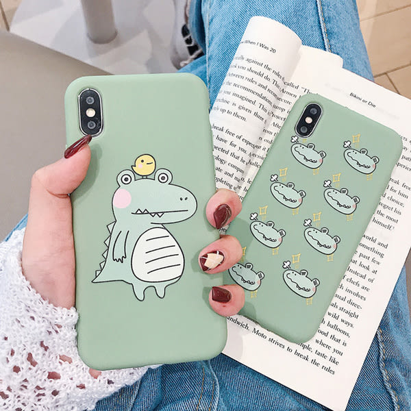 【SZ14】糖果抹茶綠鳄魚全包軟殼 iphone xs max手機殼 xr防摔手機殼 iphone 8 plus手機殼 i6s plus 手機殼