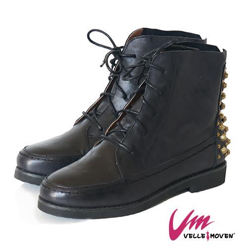 短靴 英式搖滾 VELLE MOVEN 帥性鉚釘 綁帶靴 街頭時尚風 / 黑色