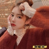 蕾絲打底衫 網紅新品基本款女裝堆堆領打底衫長袖蕾絲網紗內搭性感很仙縷空衫 榮耀 上新