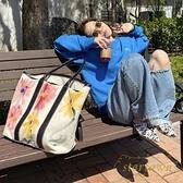 涂鴉購物袋時尚帆布花朵手提托特包出行單肩包包【繁星小鎮】