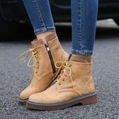 加絨短靴子 粗跟系帶磨砂馬丁靴大碼鞋《小師妹》sm838