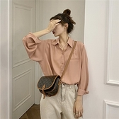 (下殺)韓版長袖薄款襯衫簡約寬鬆顯瘦上衣垂感打底內搭襯衫【08SG05843】