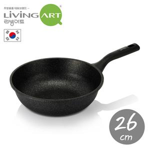 韓國【LivingArt】大理石不沾炒鍋26CM