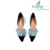 【WENG COLLECTION】Orbit Stone丹寧拼接尖頭平底鞋 淺藍
