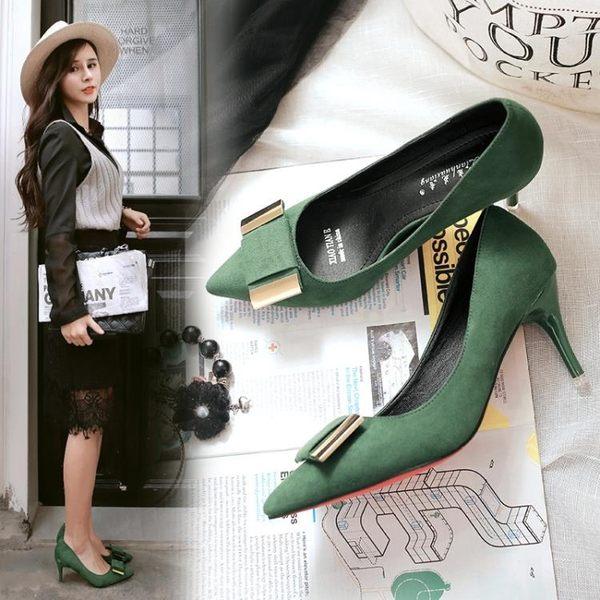 絨面蝴蝶結鞋 尖頭鞋子 細跟高跟鞋《小師妹》sm179