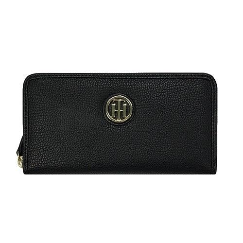 米菲客 TOMMY HILFIGER W86936443 990 立體LOGO設計 時尚素面款 荔枝紋皮革 長夾 皮夾(黑)