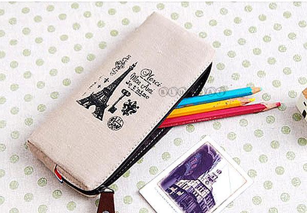 【BlueCat】法式三色國旗in paris巴黎寫意城市帆布筆袋 文具收納包