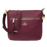 【COACH】經典馬車全皮革前拉鍊口袋斜背包(紫紅)