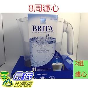 [現貨] Brita Lake (最高容量4L) 2.4L 新型白色 10杯 濾水壺 (含2支8周圓形濾芯)