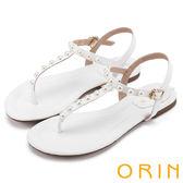 限時特賣-ORIN 夏日時尚風 典雅珍珠T字牛皮夾腳涼鞋-白色
