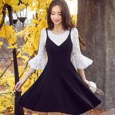 V領美胸吊帶A字傘狀下襬顯瘦背心裙洋裝~美之札