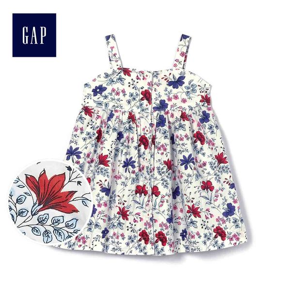 Gap女嬰兒 時尚印花吊帶洋裝 467267-光感亮白