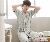 睡袍男士夏季浴衣純棉日式浴袍和服長袍睡裙男袍夏天長款薄款睡衣  英賽爾3c