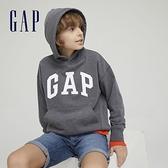 Gap男童 碳素軟磨系列 Logo法式圈織連帽休閒上衣 751234-深灰色
