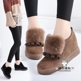 棉鞋 女2019春季新款正韓內增高坡跟平底百搭學生豆豆外穿毛毛鞋冬