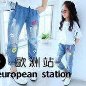 牛仔長褲/女童破洞 個性小孩寬鬆兒童「歐洲站」