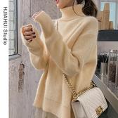 白色高領毛衣女秋冬2021新款韓版寬鬆慵懶外穿針織衫打底上衣加厚 貝芙莉