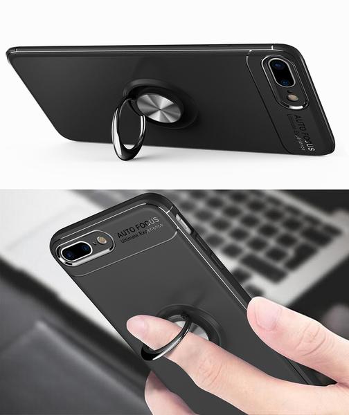 iPhone 7 Plus 手機殼 磁吸隱形指環支架 全包邊創意防摔保護套 矽膠軟殼 磁吸車載 保護殼 iPhone7