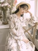 長袖連身裙森系碎花超仙女雪紡連身裙初秋女裝夏2020年秋裝氣質長袖裙子春季新品