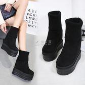 踝靴 2018秋冬14CM馬丁靴絨面圓頭黑色中筒短靴坡跟超高跟鞋內增高女靴 俏女孩