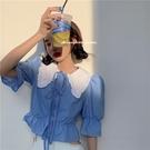 娃娃領上衣 法式復古娃娃領襯衫女夏季新款韓版泡泡袖設計感襯衣短袖上衣