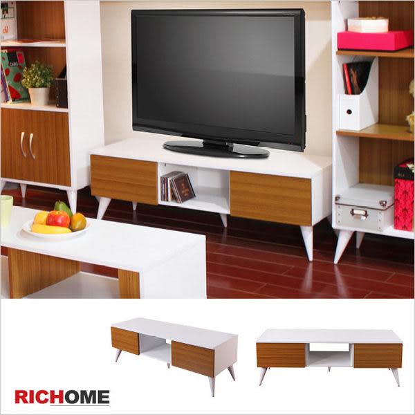 【RICHOME】TV144*《凱絲二抽電視櫃》餐櫃 櫥櫃 組合櫃 置物櫃 電器架 微波爐架