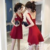 性感洋裝 夜店女裝氣質a字短裙顯瘦V領漏背港味吊帶連身裙