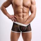 男性內褲 3D透明感黑紗囊袋型四角內褲(...