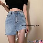 牛仔短裙 復古不規則裙子小個子牛仔半身裙女春夏季性感包臀短裙2021年新款 coco衣巷