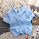 兒童t恤衫夏款童裝洋氣男童純棉短袖POLO衫潮【淘夢屋】