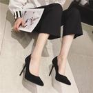 高跟鞋黑色女细跟小ck中跟2021年新款春秋季百搭小清新少女尖头鞋