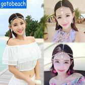 海邊度假髮飾波西米亞頭飾誇張印度女神額錬寶石吊墜沙灘配飾品女 薔薇時尚