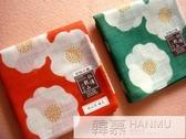 手帕紅色日本制和風椿花女士全棉柔軟手絹方巾山茶  韓慕精品