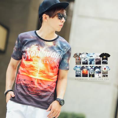 T恤 個性滿版圖騰彈性萊卡圓領短T【N9671J】