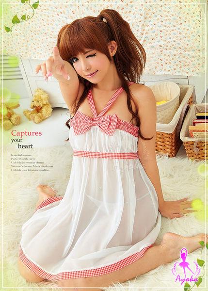 【愛愛雲端】心動時刻!格紋雪紡 二件式 性感睡衣 (白) R2NA09020097