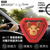 UVWASH 車用mini光離子除菌淨化機-麋鹿先生(附車充+USB轉接雙線)