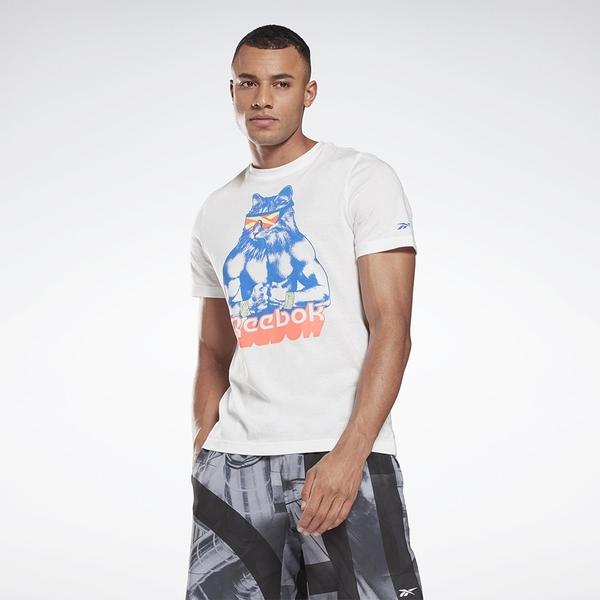Reebok Gritty Kitty 男裝 短袖 T恤 修身 貓咪 純棉 白【運動世界】GI8392