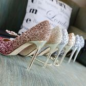 漸變高跟鞋女細跟尖頭婚鞋新娘鞋亮片高跟【南風小舖】