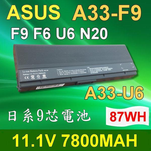 ASUS 華碩 9芯 A33-U6 日系電芯 電池 90-ND81B2000T 90-ND81B3000T U6 U6S U6SG U6V U6VC U6C