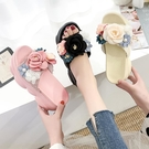 厚底涼拖鞋女2020夏季新款百搭網紅松糕花朵坡跟拖鞋女外穿時尚