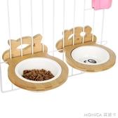 狗碗竹架鎖欄陶瓷碗狗食盆飯盆喝水盆貓咪飯碗水碗狗籠掛式寵物碗 莫妮卡小屋