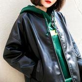 皮衣女寬鬆外套BF風PU皮棒球服韓版學生皮夾克潮 伊衫風尚