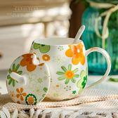 卡通創意骨瓷水杯杯子陶瓷杯帶蓋帶勺牛奶杯可愛辦公室茶杯馬克杯