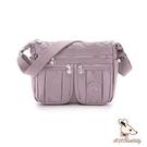 B.S.D.S冰山袋鼠 - 時光旅人 - 知性防水布多層皺褶斜背包 - 淡紫色【B5035-2PR】