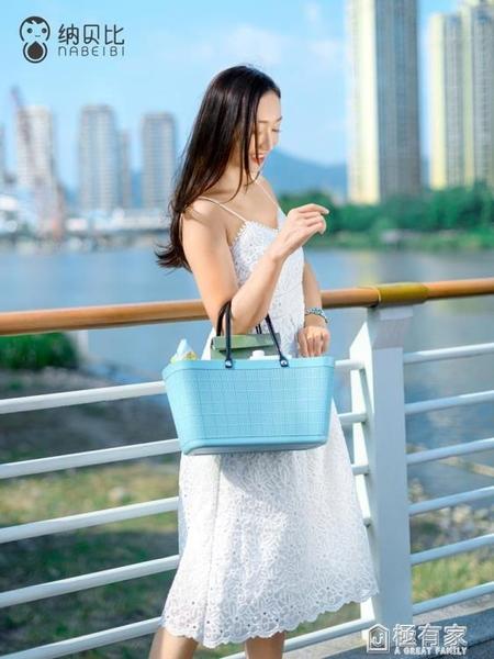 納貝比超市購物籃ins時尚手提籃戶外野餐籃鮮花菜籃子塑料收納筐 ATF 極有家